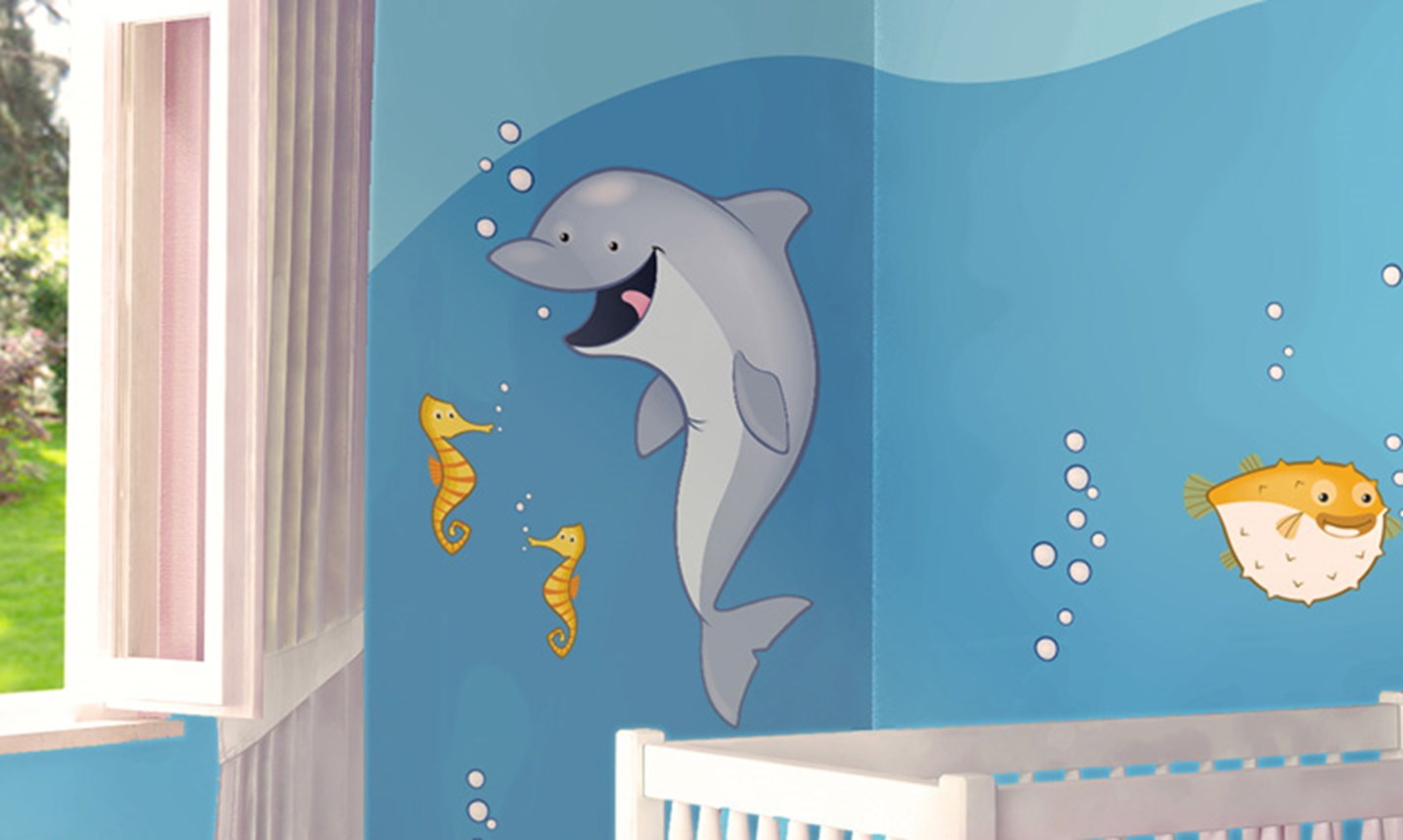 Decorazione Pareti Per Bambini : Stickers murali bambini cameretta in fondo al mare leostickers